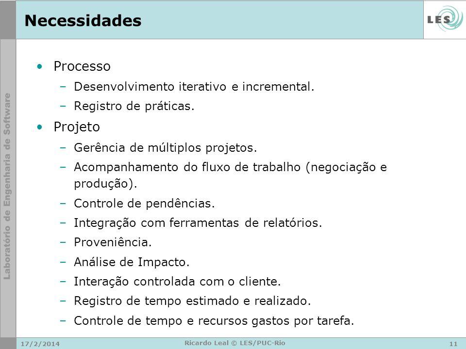 Necessidades Processo –Desenvolvimento iterativo e incremental.