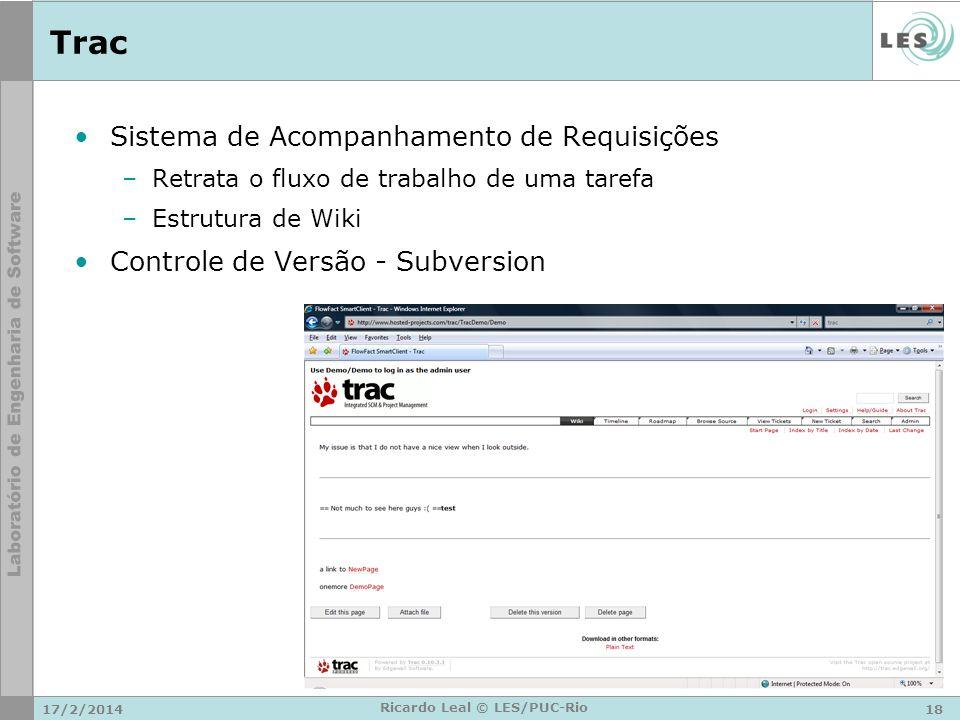Trac Sistema de Acompanhamento de Requisições –Retrata o fluxo de trabalho de uma tarefa –Estrutura de Wiki Controle de Versão - Subversion 17/2/201418 Ricardo Leal © LES/PUC-Rio