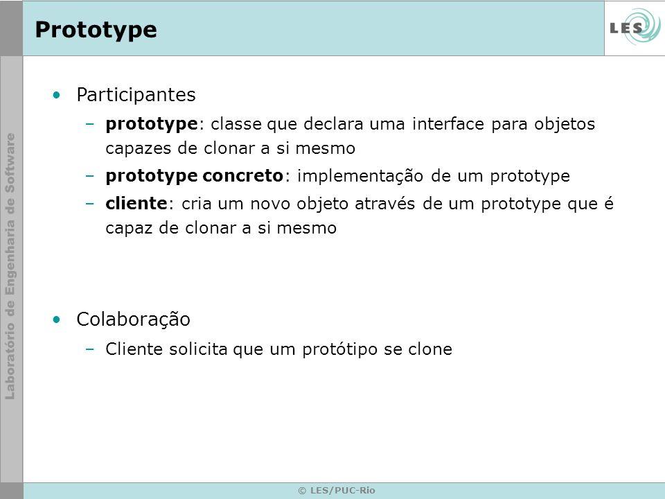 Prototype © LES/PUC-Rio Participantes –prototype: classe que declara uma interface para objetos capazes de clonar a si mesmo –prototype concreto: impl