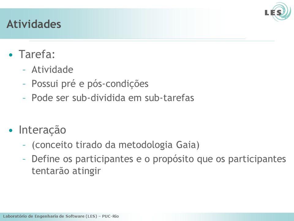 Laboratório de Engenharia de Software (LES) – PUC-Rio Estado Mental de Entidades Metas: –Associa um estado a um agente –Estado que o agente quer atingir