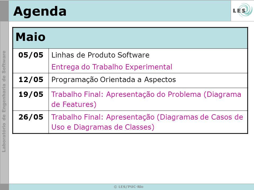 © LES/PUC-Rio Agenda Maio 05/05 Linhas de Produto Software Entrega do Trabalho Experimental 12/05Programação Orientada a Aspectos 19/05 Trabalho Final
