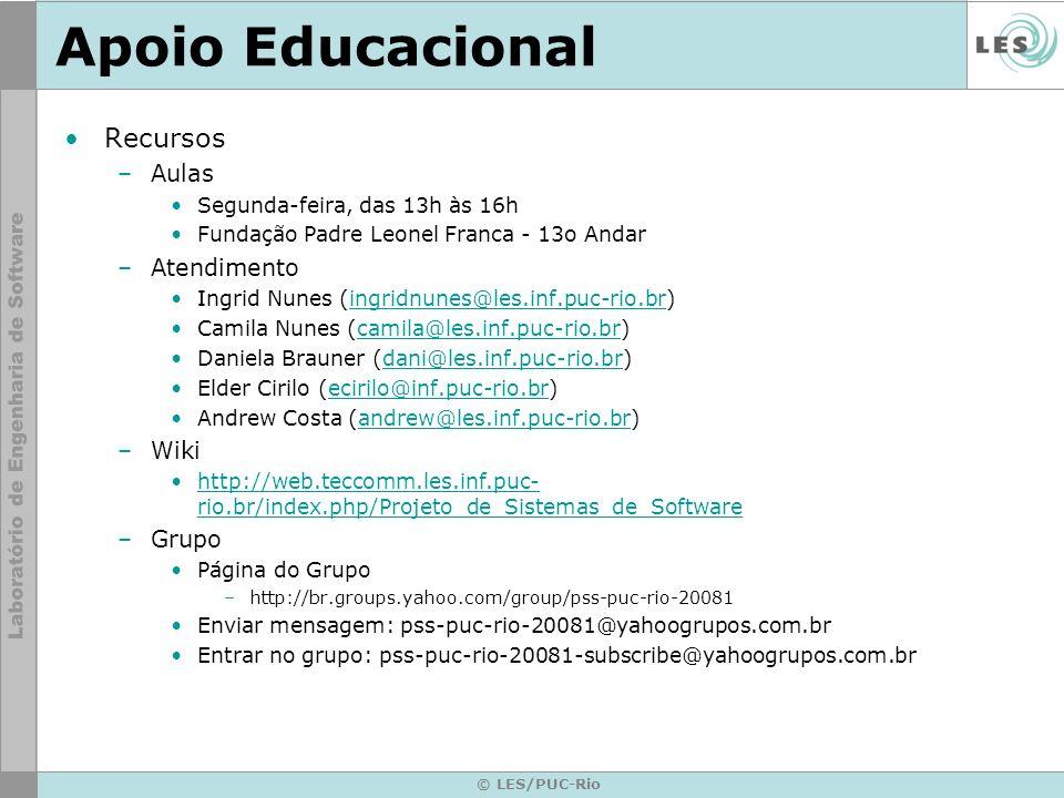 © LES/PUC-Rio Apoio Educacional Recursos –Aulas Segunda-feira, das 13h às 16h Fundação Padre Leonel Franca - 13o Andar –Atendimento Ingrid Nunes (ingr
