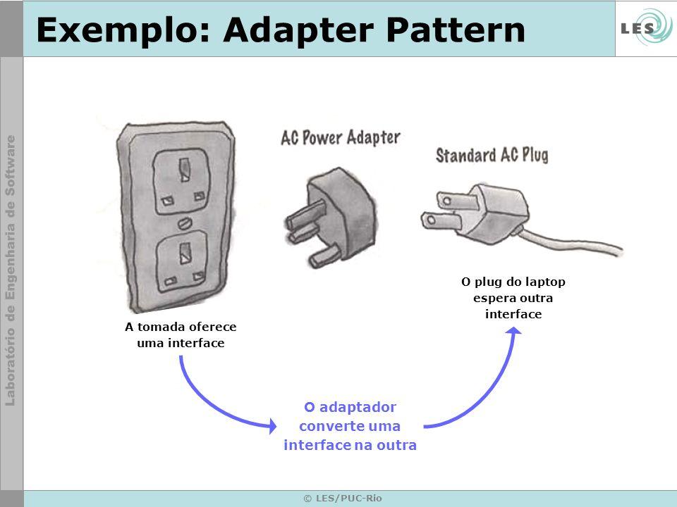 © LES/PUC-Rio Exemplo: Adapter Pattern O plug do laptop espera outra interface O adaptador converte uma interface na outra A tomada oferece uma interf