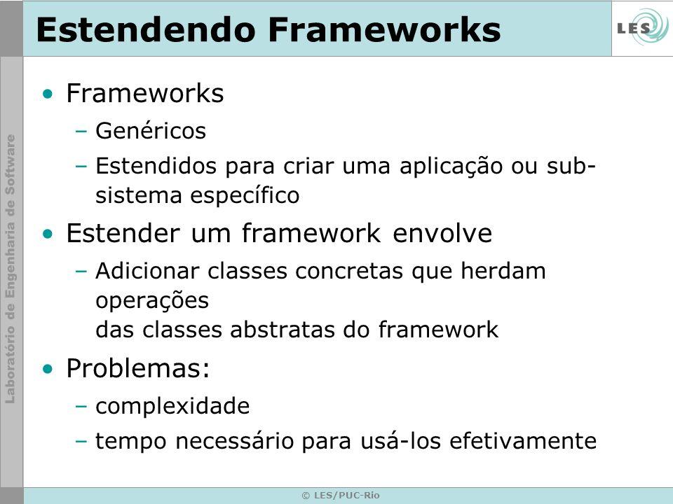 © LES/PUC-Rio Estendendo Frameworks Frameworks –Genéricos –Estendidos para criar uma aplicação ou sub- sistema específico Estender um framework envolv