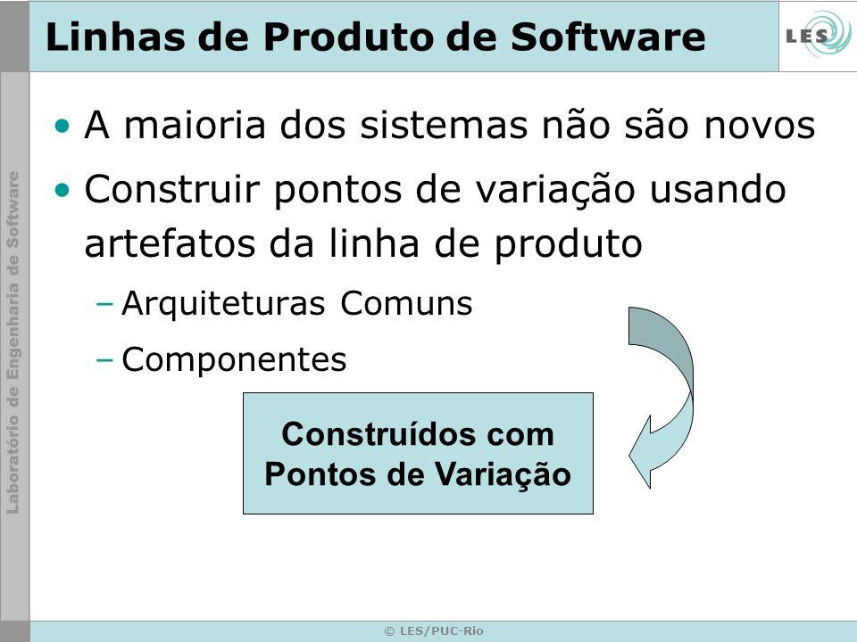 © LES/PUC-Rio Linhas de Produto de Software A maioria dos sistemas não são novos Construir pontos de variação usando artefatos da linha de produto –Ar