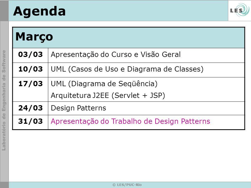 © LES/PUC-Rio Agenda Abril 07/04Agentes (teoria e exemplos) 14/04 Frameworks OO Dúvidas do sobre o Trabalho Final 28/04Trabalho Final: Apresentação inicial