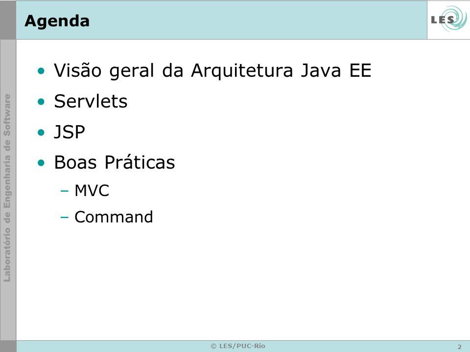 33 © LES/PUC-Rio Colocando para Funcionar Para que o servlet funcione –Necessário que um servidor web/aplicação com suporte a java que escute as requisições do cliente –Ex: IBM WebSphere Application Server Jakarta Tomcat Java Web Server Etc.