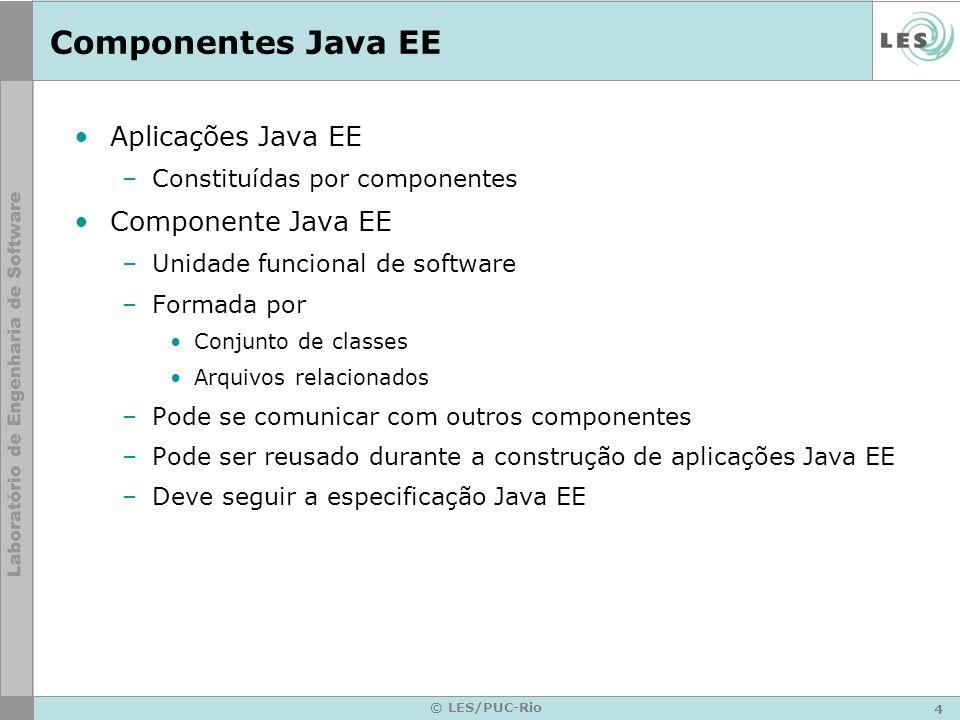 4 © LES/PUC-Rio Componentes Java EE Aplicações Java EE –Constituídas por componentes Componente Java EE –Unidade funcional de software –Formada por Co