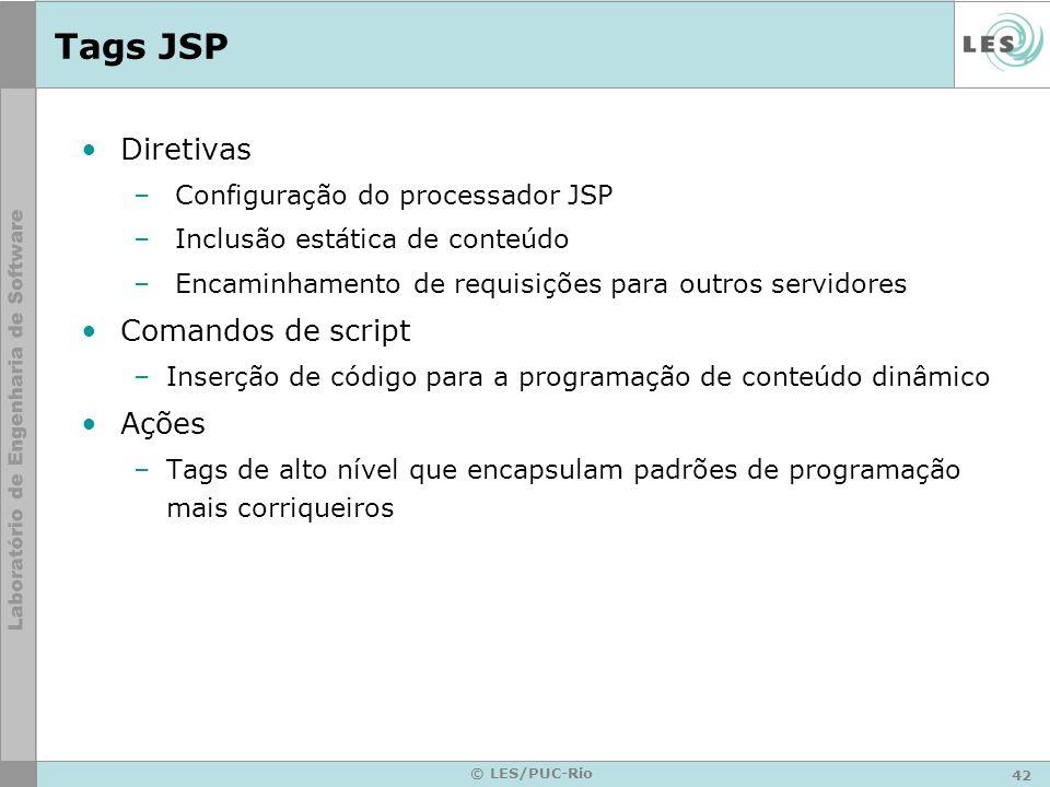 42 © LES/PUC-Rio Tags JSP Diretivas – Configuração do processador JSP – Inclusão estática de conteúdo – Encaminhamento de requisições para outros serv