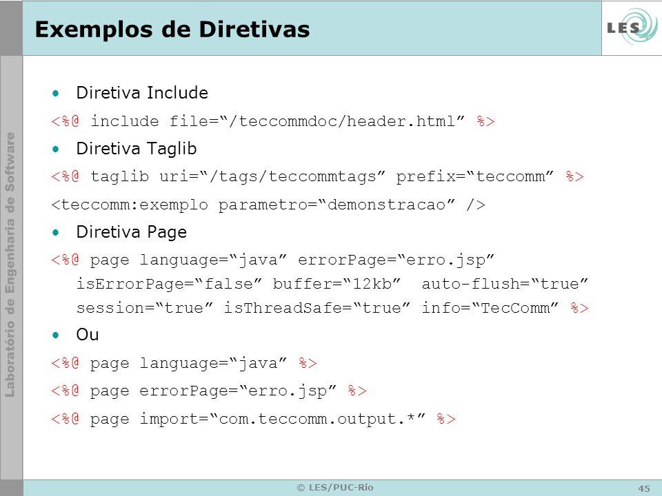 45 © LES/PUC-Rio Exemplos de Diretivas Diretiva Include Diretiva Taglib Diretiva Page Ou