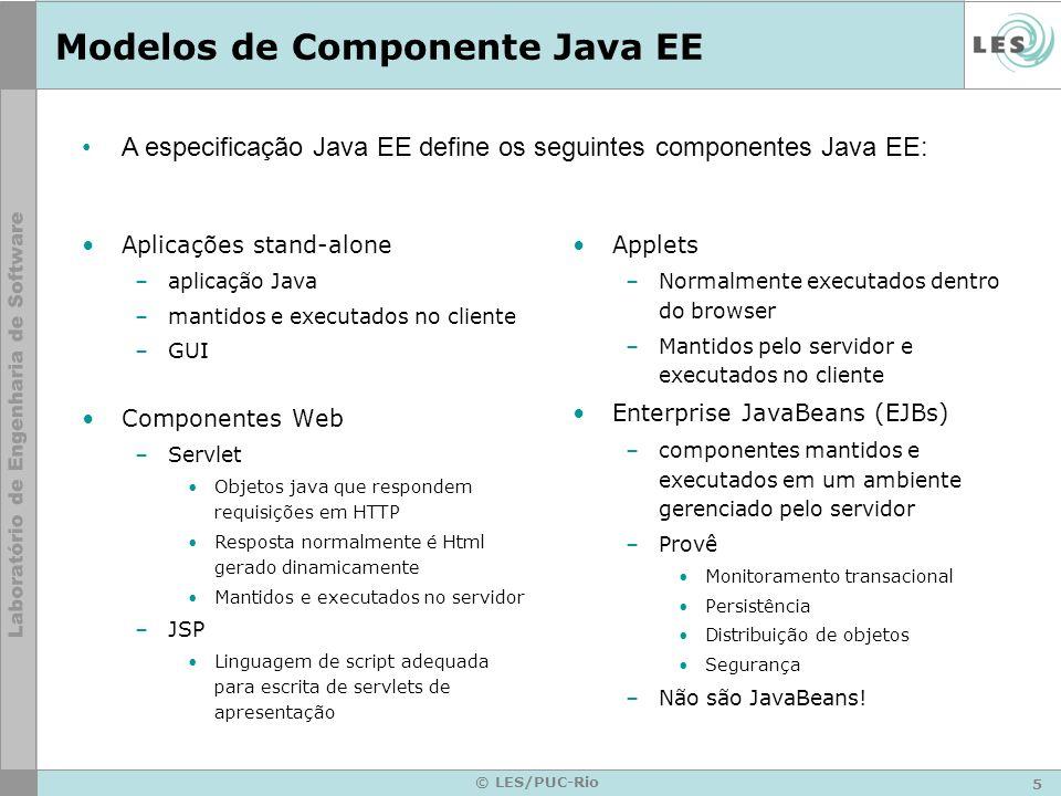 16 © LES/PUC-Rio API de Servlet –Conjunto de classes Java –Define interface padrão entre o cliente web e o servidor web java.lang.Object | +----javax.servlet.GenericServlet | +----javax.servlet.http.HTTPServlet | +----com.teccomm.pss.MeuServlet