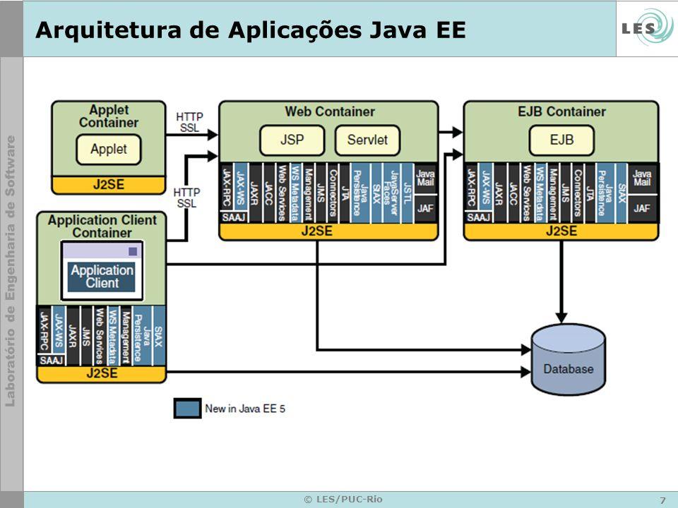 8 © LES/PUC-Rio Servidores Java EE Componentes Java EE são instalados em servidores Servidores –Oferecem infra-estrutura para gerenciamento do ciclo de vida dos componentes –Incluem containers Web e EJB –Provêem diversos serviços para os componentes Transações Persistência Segurança Nomes Distribuição