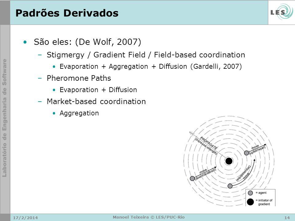 17/2/201414 Manoel Teixeira © LES/PUC-Rio Padrões Derivados São eles: (De Wolf, 2007) –Stigmergy / Gradient Field / Field-based coordination Evaporati