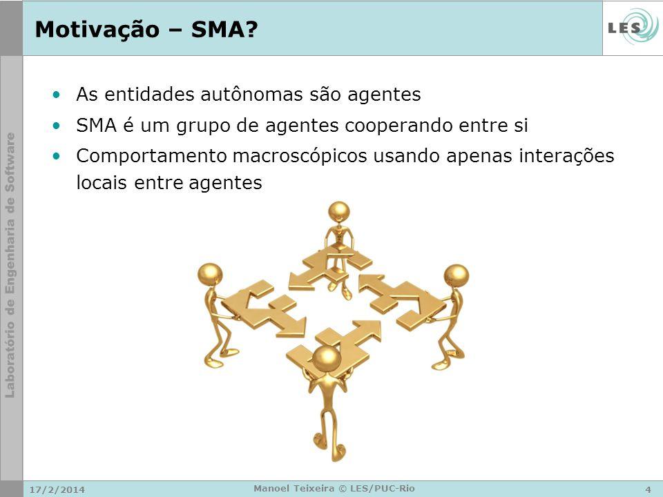 17/2/20144 Manoel Teixeira © LES/PUC-Rio Motivação – SMA? As entidades autônomas são agentes SMA é um grupo de agentes cooperando entre si Comportamen