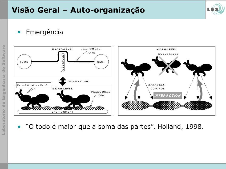 Visão Geral – Auto-organização Emergência O todo é maior que a soma das partes. Holland, 1998.