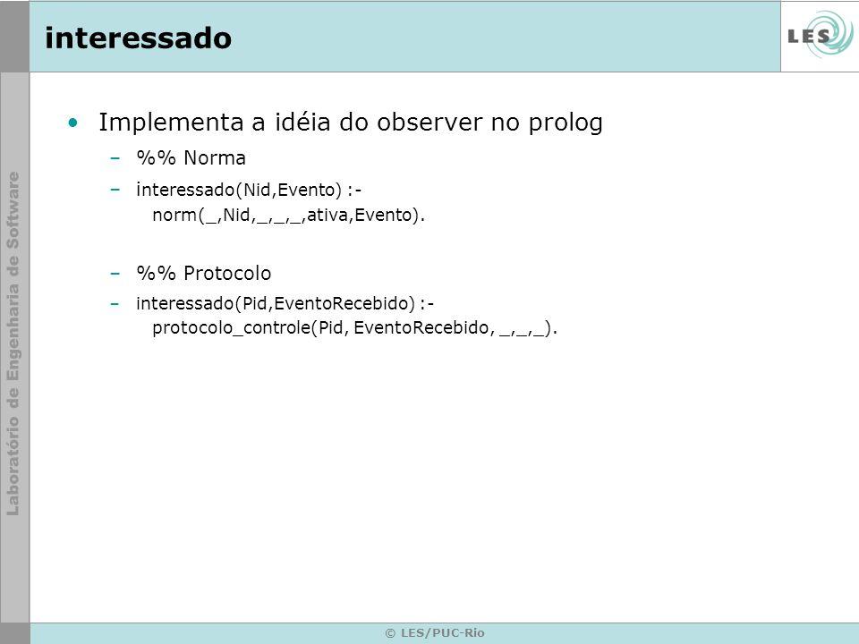© LES/PUC-Rio interessado Implementa a idéia do observer no prolog –% Norma –i nteressado(Nid,Evento) :- norm(_,Nid,_,_,_,ativa,Evento).