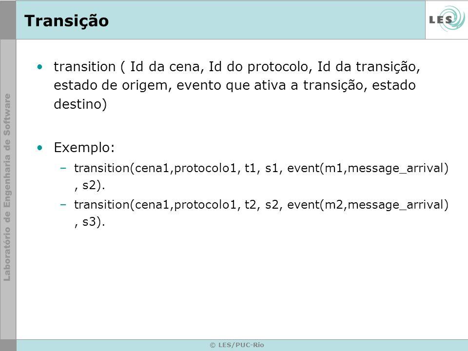 © LES/PUC-Rio Transição transition ( Id da cena, Id do protocolo, Id da transição, estado de origem, evento que ativa a transição, estado destino) Exemplo: –transition(cena1,protocolo1, t1, s1, event(m1,message_arrival), s2).