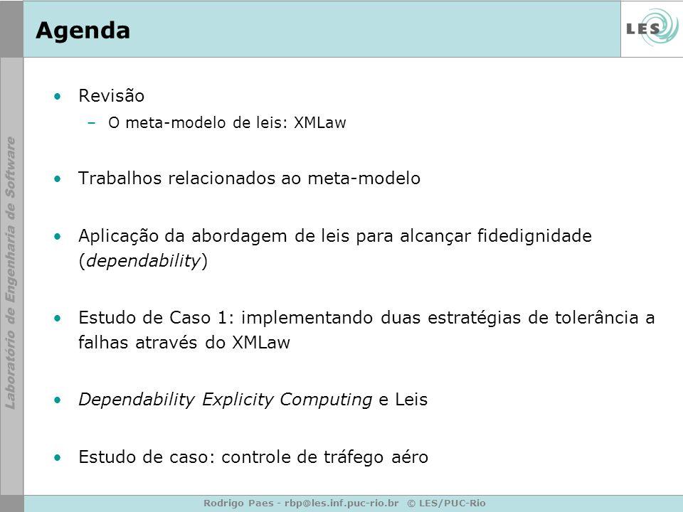 Rodrigo Paes - rbp@les.inf.puc-rio.br © LES/PUC-Rio Agenda Revisão –O meta-modelo de leis: XMLaw Trabalhos relacionados ao meta-modelo Aplicação da abordagem de leis para alcançar fidedignidade (dependability) Estudo de Caso 1: implementando duas estratégias de tolerância a falhas através do XMLaw Dependability Explicity Computing e Leis Estudo de caso: controle de tráfego aéro