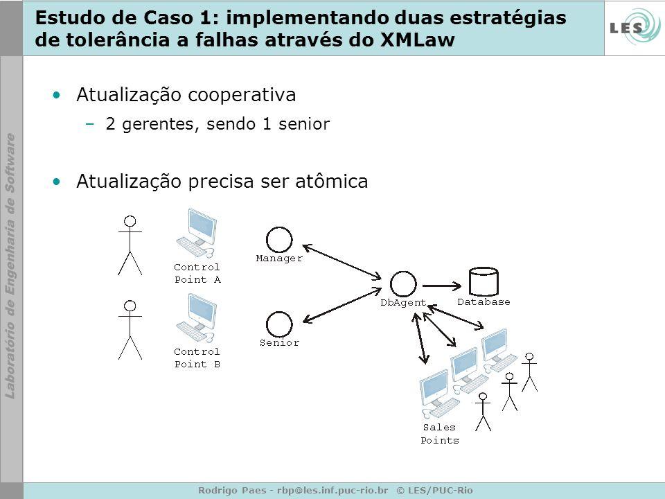 Rodrigo Paes - rbp@les.inf.puc-rio.br © LES/PUC-Rio Estudo de Caso 1: implementando duas estratégias de tolerância a falhas através do XMLaw Atualização cooperativa –2 gerentes, sendo 1 senior Atualização precisa ser atômica