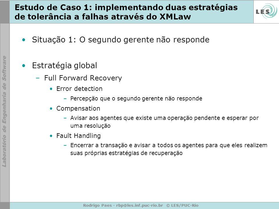 Rodrigo Paes - rbp@les.inf.puc-rio.br © LES/PUC-Rio Estudo de Caso 1: implementando duas estratégias de tolerância a falhas através do XMLaw Situação