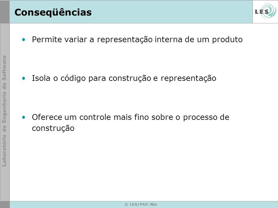 © LES/PUC-Rio Conseqüências Permite variar a representação interna de um produto Isola o código para construção e representação Oferece um controle ma
