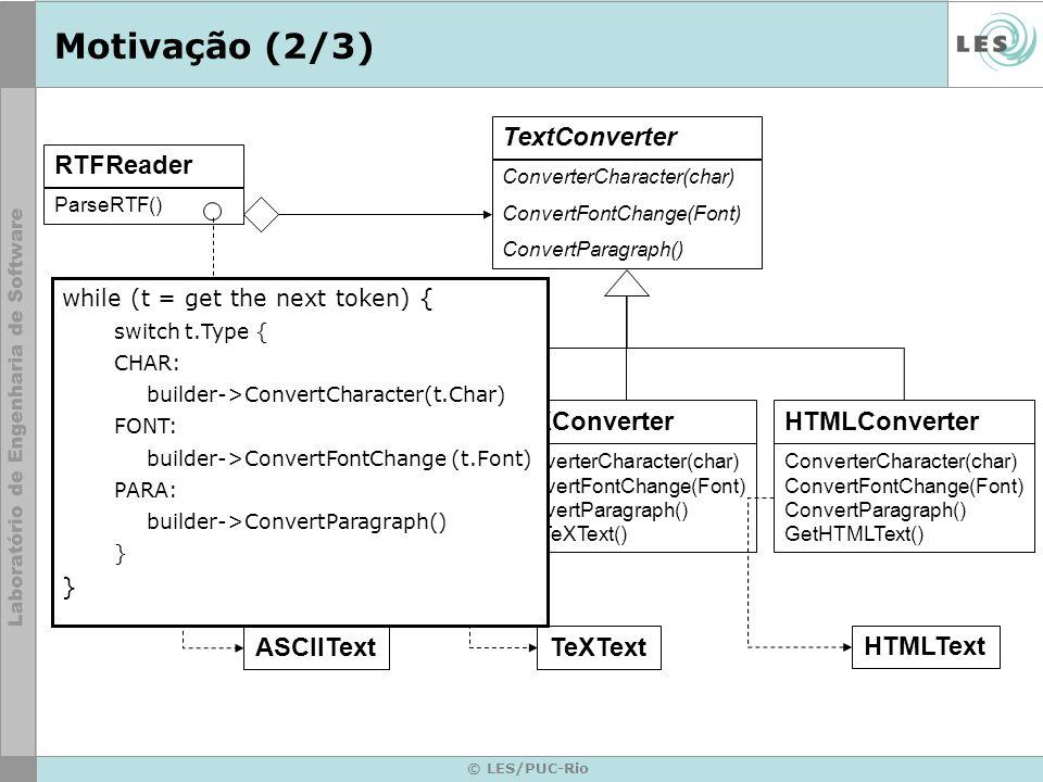 © LES/PUC-Rio Motivação (2/3) RTFReader ParseRTF() ASCIIConverter ConverterCharacter(char) GetASCIIText() TextConverter ConverterCharacter(char) Conve