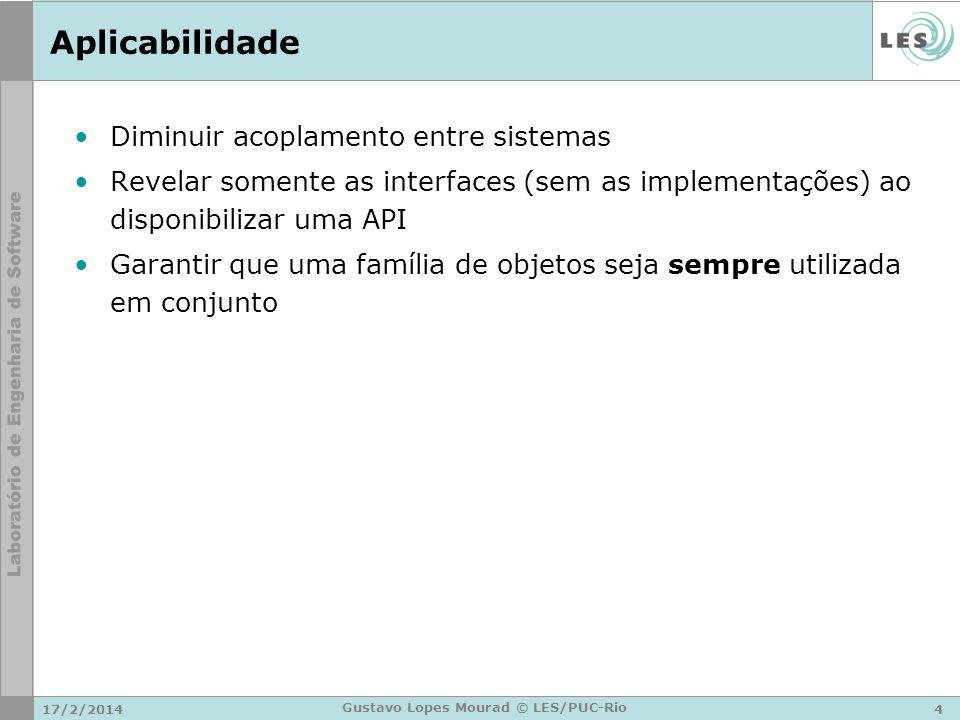 17/2/20144 Gustavo Lopes Mourad © LES/PUC-Rio Aplicabilidade Diminuir acoplamento entre sistemas Revelar somente as interfaces (sem as implementações)