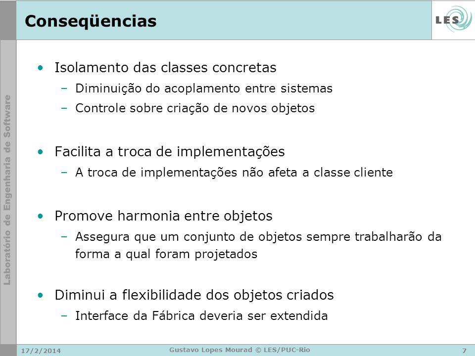 17/2/20147 Gustavo Lopes Mourad © LES/PUC-Rio Conseqüencias Isolamento das classes concretas –Diminuição do acoplamento entre sistemas –Controle sobre