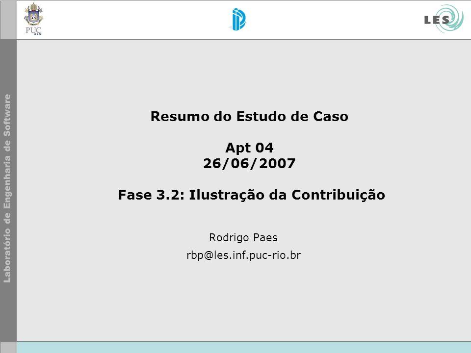 Resumo do Estudo de Caso Apt 04 26/06/2007 Fase 3.2: Ilustração da Contribuição Rodrigo Paes rbp@les.inf.puc-rio.br