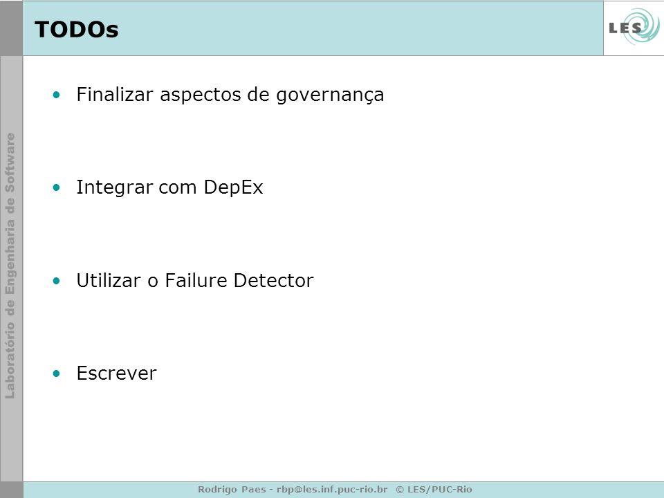 Rodrigo Paes - rbp@les.inf.puc-rio.br © LES/PUC-Rio TODOs Finalizar aspectos de governança Integrar com DepEx Utilizar o Failure Detector Escrever