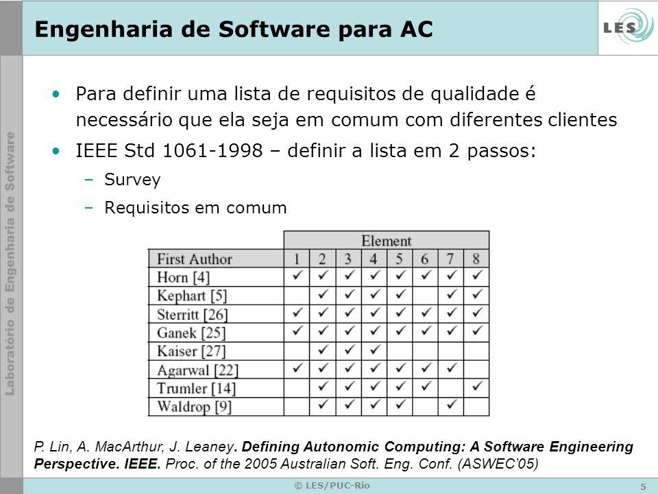 5 © LES/PUC-Rio Engenharia de Software para AC Para definir uma lista de requisitos de qualidade é necessário que ela seja em comum com diferentes clientes IEEE Std 1061-1998 – definir a lista em 2 passos: –Survey –Requisitos em comum P.