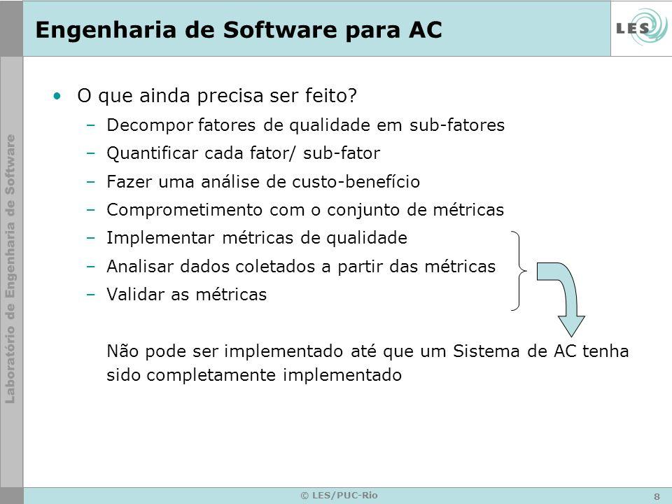 9 © LES/PUC-Rio SMAs para AC Propriedades self-* emergem das interações entre os autonomic managers Interações são –Dinâmicas –Formadas por negociações/ acordos