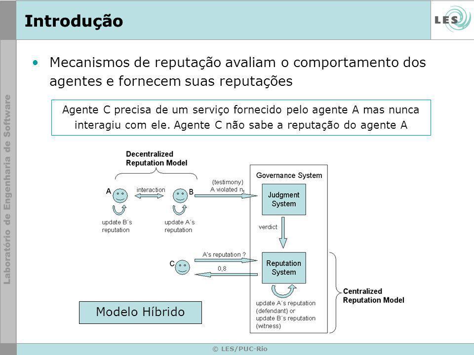 © LES/PUC-Rio Introdução Mecanismos de reputação avaliam o comportamento dos agentes e fornecem suas reputações Agente C precisa de um serviço forneci