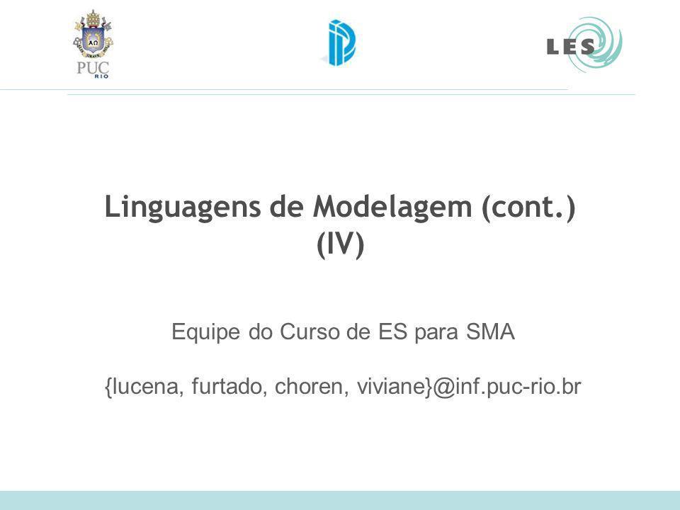 Linguagens de Modelagem (cont.) (IV) Equipe do Curso de ES para SMA {lucena, furtado, choren, viviane}@inf.puc-rio.br