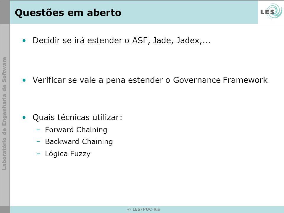 © LES/PUC-Rio Questões em aberto Decidir se irá estender o ASF, Jade, Jadex,... Verificar se vale a pena estender o Governance Framework Quais técnica