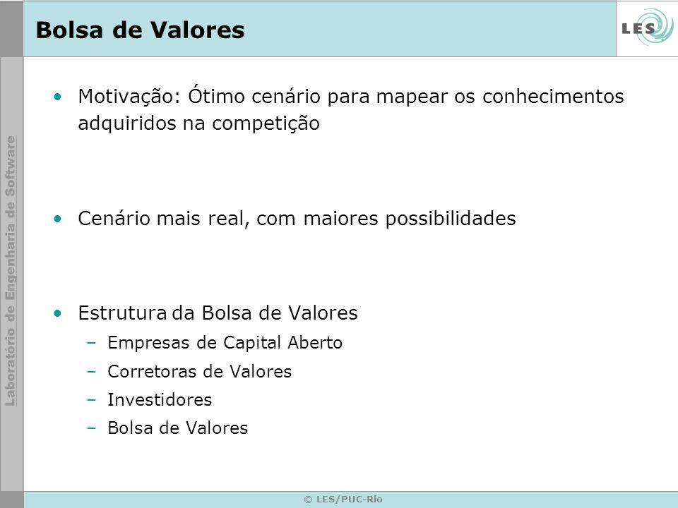 © LES/PUC-Rio Bolsa de Valores Motivação: Ótimo cenário para mapear os conhecimentos adquiridos na competição Cenário mais real, com maiores possibilidades Estrutura da Bolsa de Valores –Empresas de Capital Aberto –Corretoras de Valores –Investidores –Bolsa de Valores