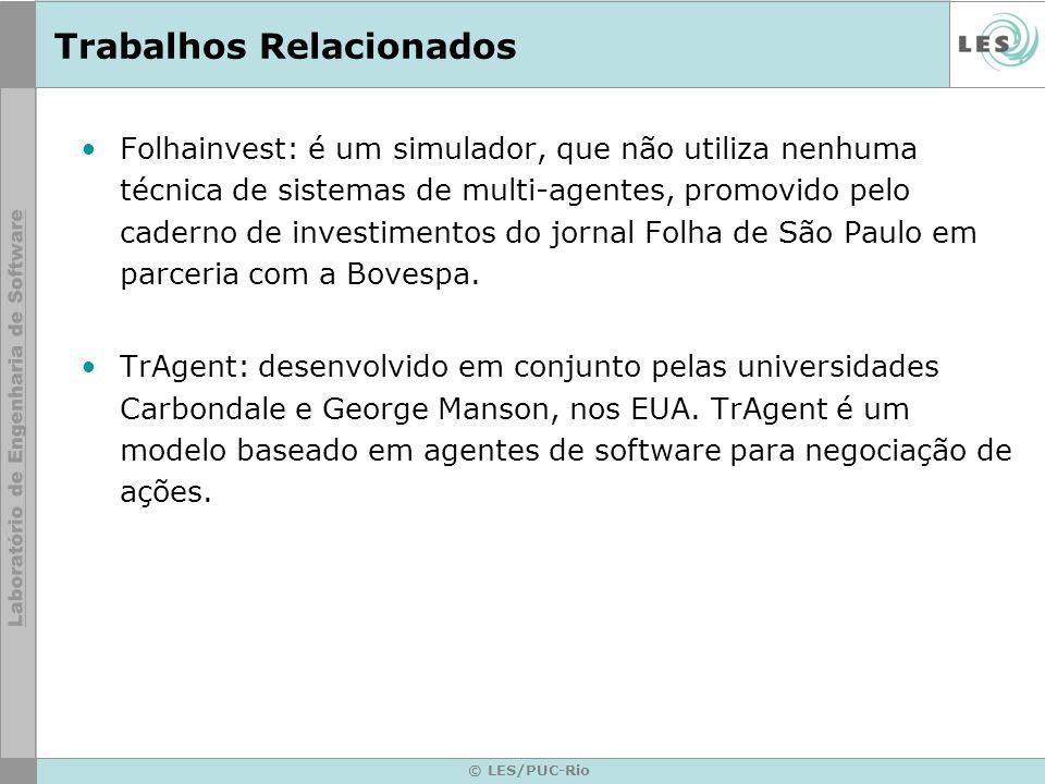© LES/PUC-Rio Trabalhos Relacionados Folhainvest: é um simulador, que não utiliza nenhuma técnica de sistemas de multi-agentes, promovido pelo caderno de investimentos do jornal Folha de São Paulo em parceria com a Bovespa.