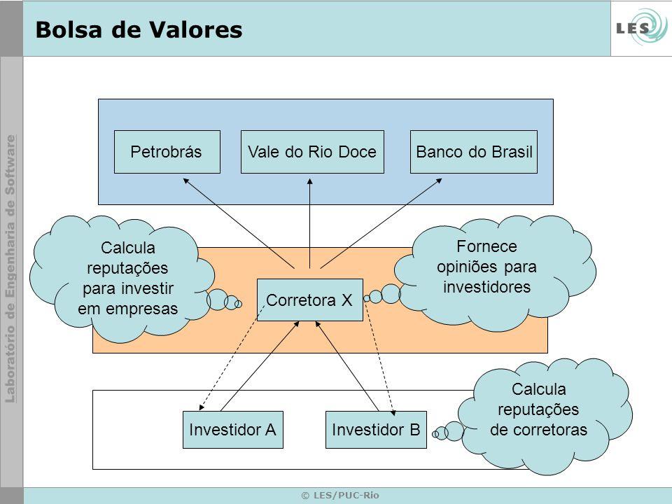© LES/PUC-Rio Bolsa de Valores Investidor AInvestidor B Corretora X PetrobrásVale do Rio DoceBanco do Brasil Fornece opiniões para investidores Calcul