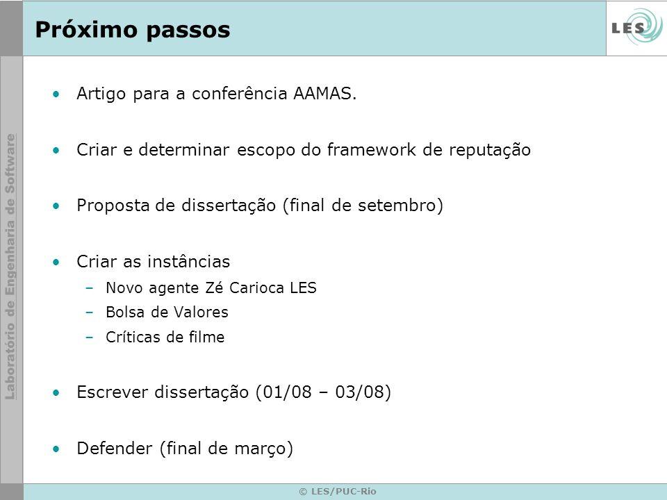 © LES/PUC-Rio Próximo passos Artigo para a conferência AAMAS. Criar e determinar escopo do framework de reputação Proposta de dissertação (final de se