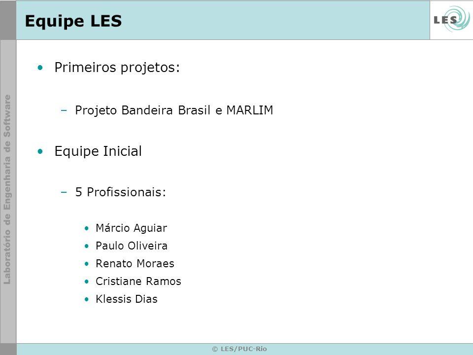 © LES/PUC-Rio Equipe LES Primeiros projetos: –Projeto Bandeira Brasil e MARLIM Equipe Inicial –5 Profissionais: Márcio Aguiar Paulo Oliveira Renato Mo