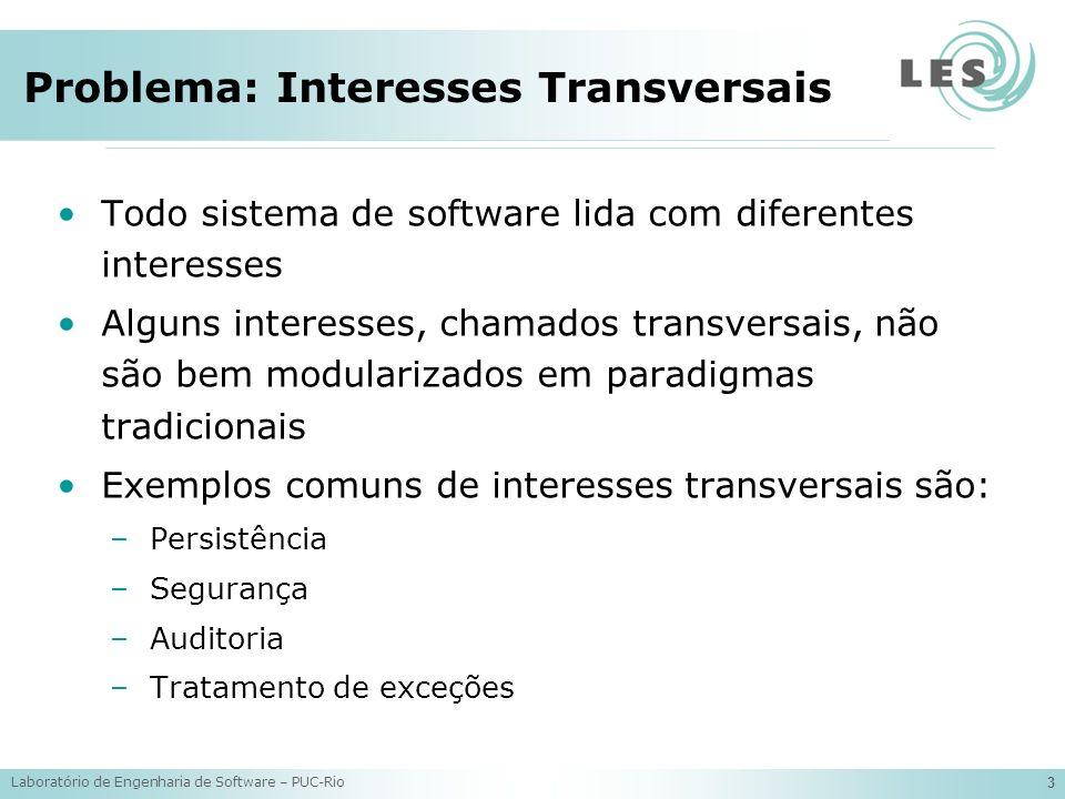 Laboratório de Engenharia de Software – PUC-Rio 4 Problema: Interesses Transversais Separação de interesses TradicionalOrientada a Aspectos