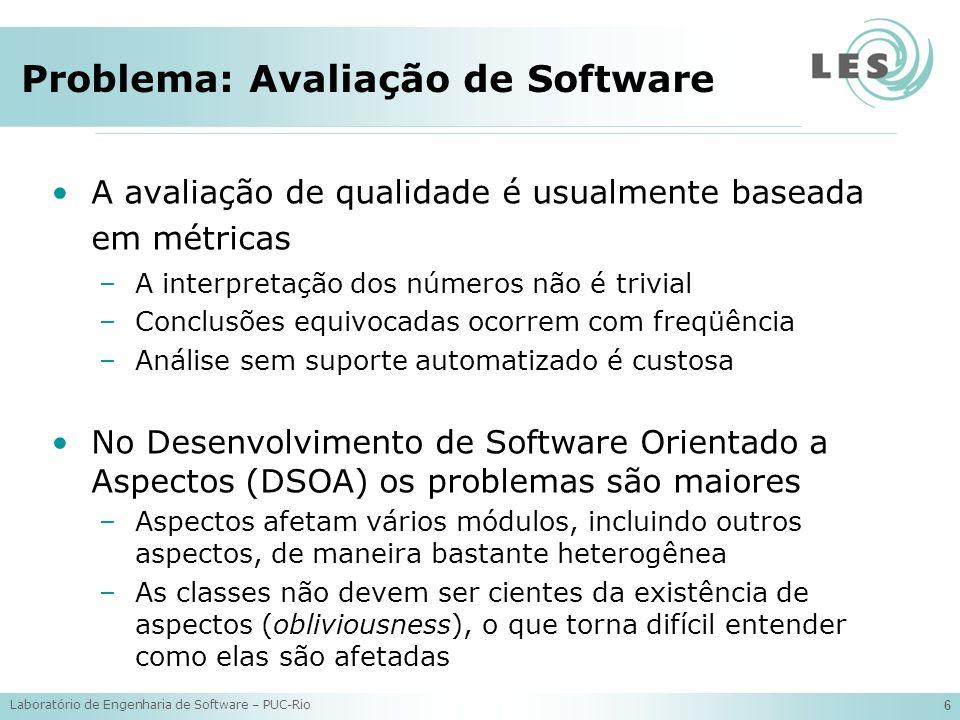 Laboratório de Engenharia de Software – PUC-Rio 17 Novas Métricas: Exemplos public class Button extends JButton implements GUIColleague { private GUIMediator mediator; public Button(String name) {...