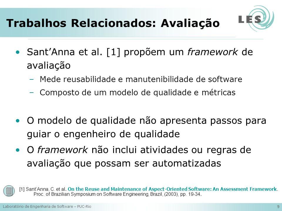 Laboratório de Engenharia de Software – PUC-Rio 10 Trabalhos Relacionados: Ferramentas Ferramentas de suporte ao DSOA têm sido desenvolvidas e encontram-se disponíveis [1-4] Elas são principalmente destinadas a visualização [3] ou extração [2, 4] de interesses transversais Quando aplicadas a avaliação, estas ferramentas suportam apenas a atividade de medição [1] [1] Ceccato, M.