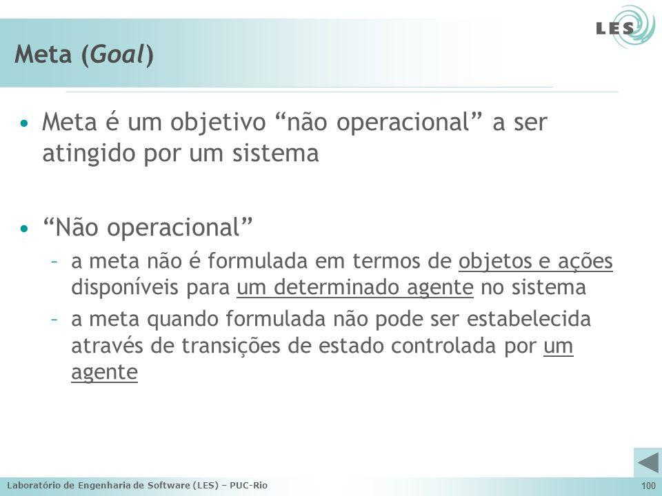 Laboratório de Engenharia de Software (LES) – PUC-Rio 100 Meta (Goal) Meta é um objetivo não operacional a ser atingido por um sistema Não operacional
