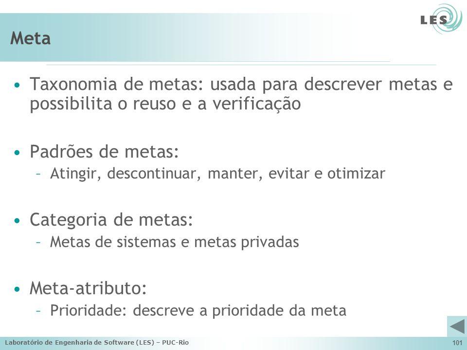 Laboratório de Engenharia de Software (LES) – PUC-Rio 101 Meta Taxonomia de metas: usada para descrever metas e possibilita o reuso e a verificação Pa