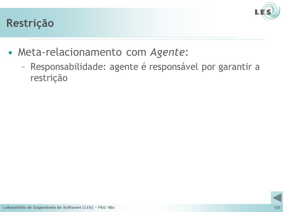 Laboratório de Engenharia de Software (LES) – PUC-Rio 105 Restrição Meta-relacionamento com Agente: –Responsabilidade: agente é responsável por garant