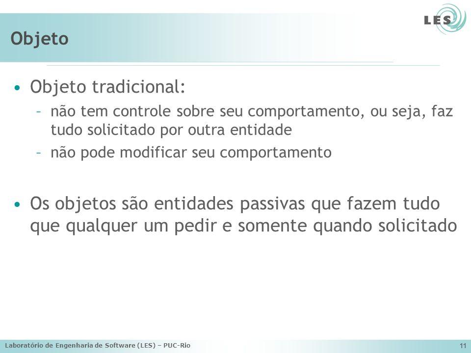 Laboratório de Engenharia de Software (LES) – PUC-Rio 11 Objeto Objeto tradicional: –não tem controle sobre seu comportamento, ou seja, faz tudo solic