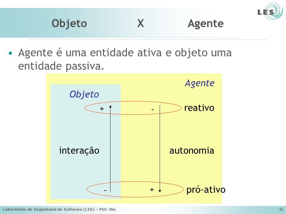Laboratório de Engenharia de Software (LES) – PUC-Rio 16 Agente Objeto X Agente Agente é uma entidade ativa e objeto uma entidade passiva. + - autonom