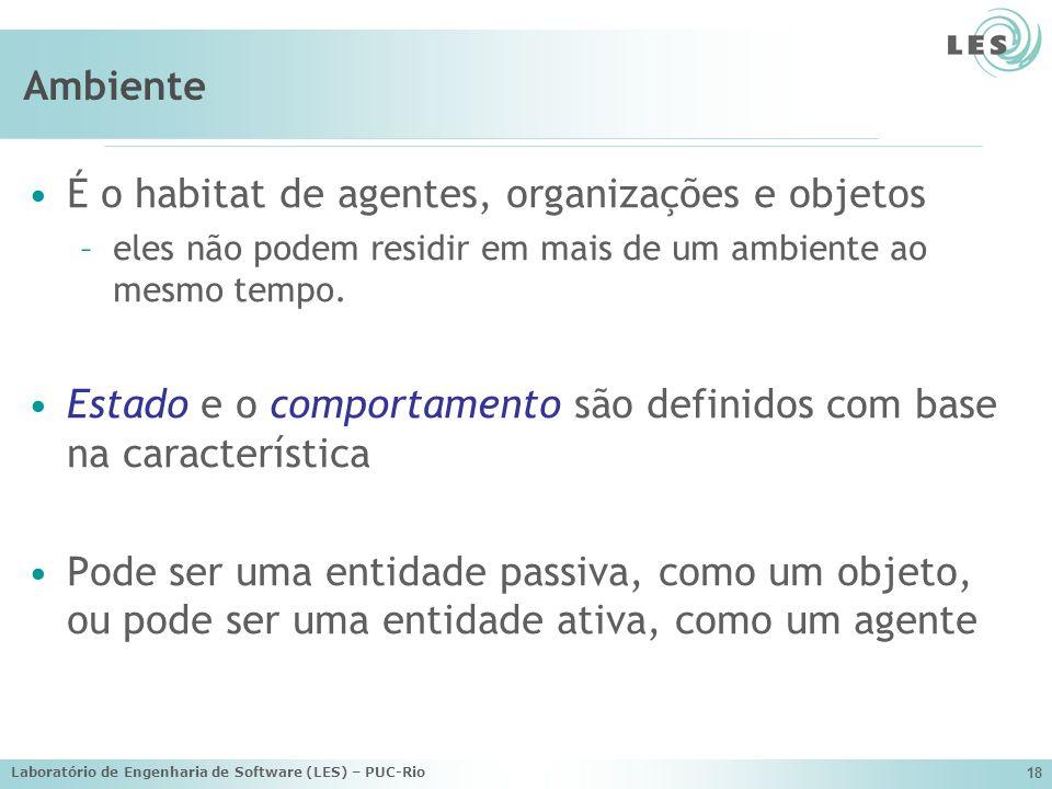 Laboratório de Engenharia de Software (LES) – PUC-Rio 18 Ambiente É o habitat de agentes, organizações e objetos –eles não podem residir em mais de um