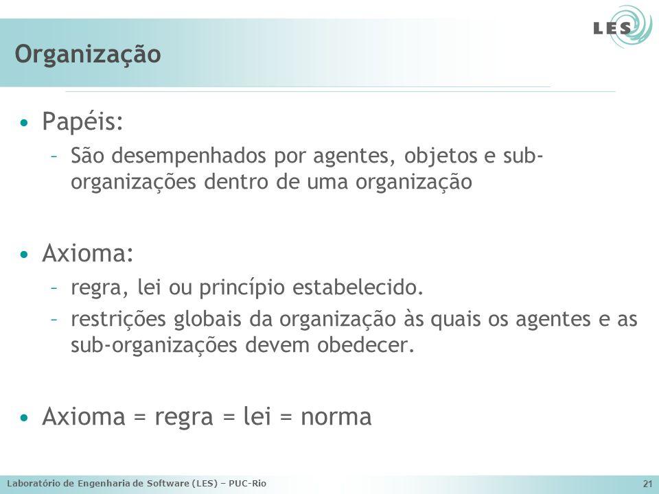Laboratório de Engenharia de Software (LES) – PUC-Rio 21 Organização Papéis: –São desempenhados por agentes, objetos e sub- organizações dentro de uma